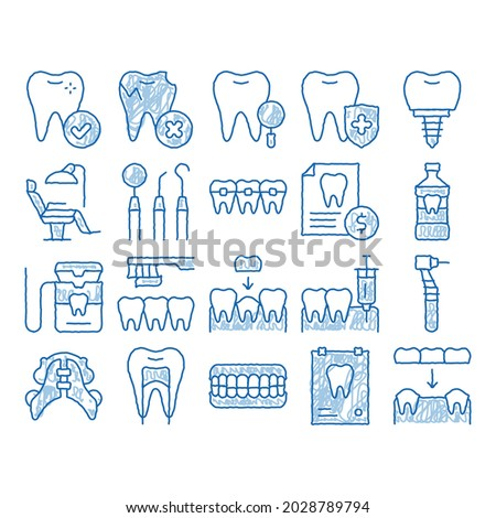 Stomatology sketch icon vector. Hand drawn blue doodle line art Stomatology Dentist Equipment And Chair, Healthy And Unhealthy Tooth Pictograms. Jaw Denture, Injection Anesthesia Illustrations Foto stock ©