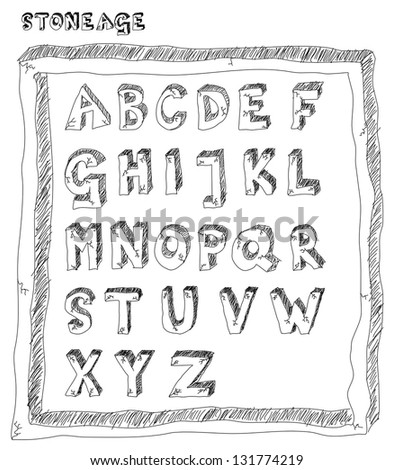 Stone age alphabet from cracked stone blocks