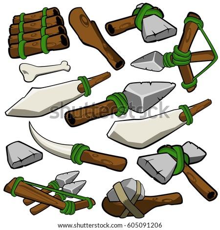 Stone Age Caveman Prehistoric Weapons Artwork Vector Design