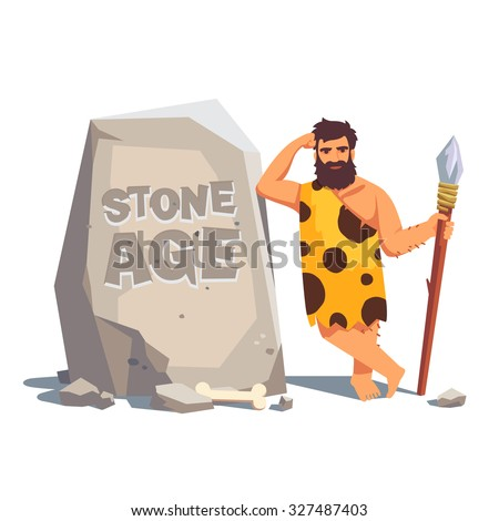 stone age engraving on a big