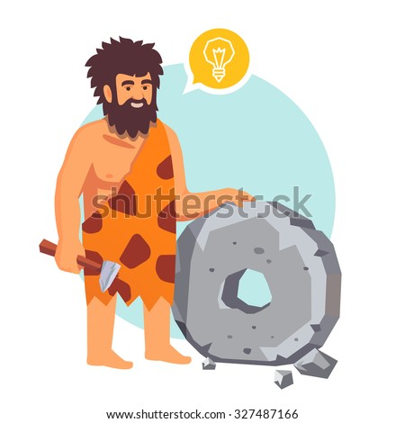 Stone age primitive man had an idea and invents a wheel. Flat style vector illustration isolated on white background.