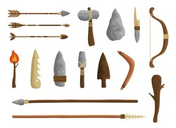 Stone age tools set, caveman civilization culture. Prehistoric ancestors primitive tools to work and hunt. Vector flat style cartoon illustration isolated on white background