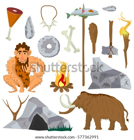 Shutterstock Stone age vector flat icons set of Neanderthal man or caveman, ice-age mammoth, primitive work and weapon tools of ax bat and fishing spear, fire torch near dwelling place tent and jewelry of bones