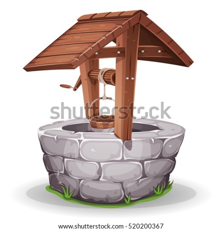 Stone And Wood Water Well/ Illustration of a cartoon stone and wooden water well, with rope and bucket Stock photo ©