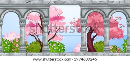 stone arch vector architecture
