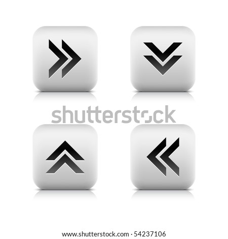 Stone arrow sign web button. White rounded shape with reflection and shadow on white