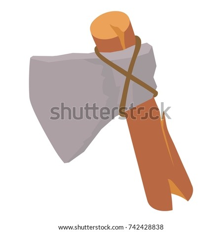 Stone axe icon. Isometric illustration of stone axe vector icon for web