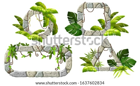 Stone boards decoration liana branches and tropical leaves. Set isolated cartoon vector circle and square frames with space for text on white background.