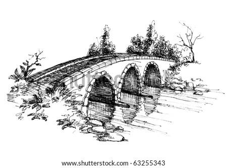 stone bridge over river sketch 2