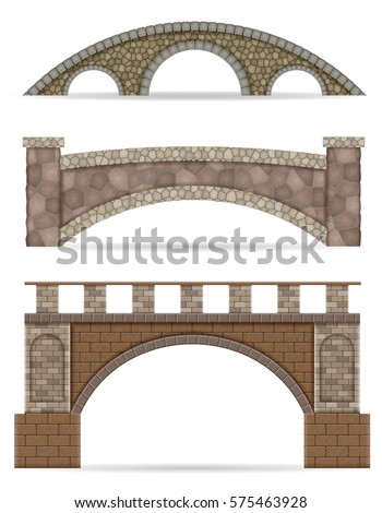 stone bridge stock vector illustration isolated on white background