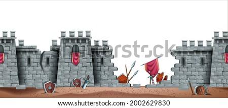 stone castle vector wall