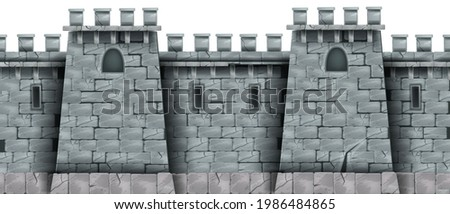 Stone castle wall background, vector seamless brick medieval tower texture, rock city fortification building. Gray kingdom fortress illustration, game design element. Stone wall, loophole, windows Photo stock ©