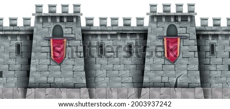 Stone castle wall seamless background, medieval city brick fortification tower, standard, loophole. Rock ancient building, fantasy game illustration, architecture exterior view. Solid castle wall Photo stock ©