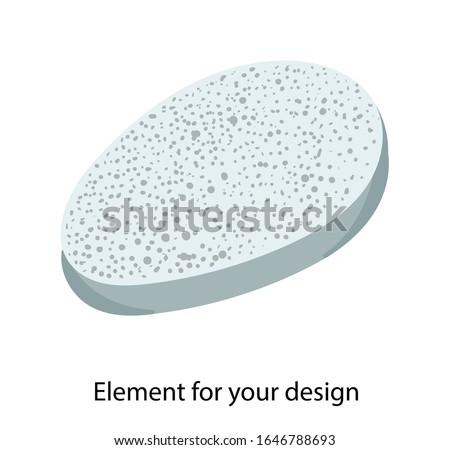 Stone for washing. Natural bath accessories. Pumice for the feet. Foot cleaning. Pedicure. vector illustration on a white background. Element for your design. Stockfoto ©