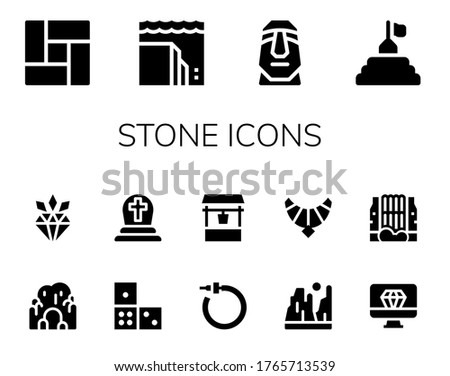 stone icon set 14 filled stone