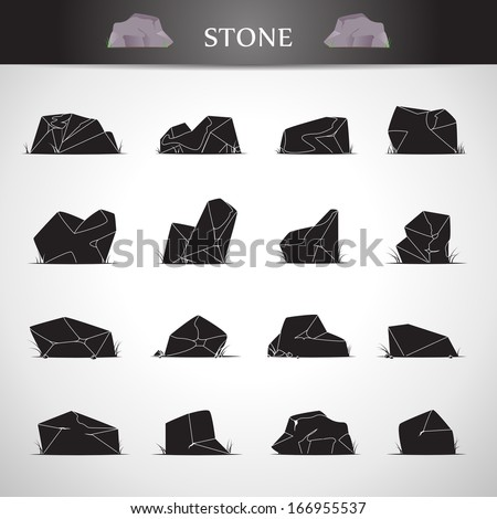 stone icons set   isolated on