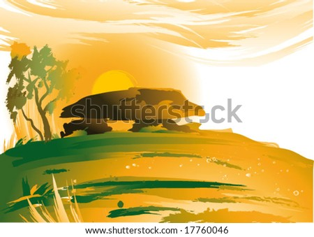 stone landscape, vector illustration