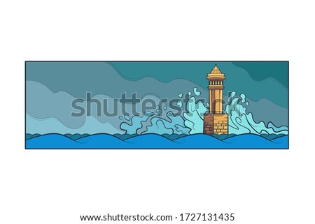 stone lighthouse tower big sea