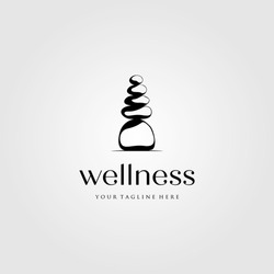 stone rock balancing logo spa wellness vector emblem illustration design