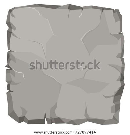 Stone rock cartoon, broken boulder template, stone banner, big grey rubble. Rocks natural game design. Vector