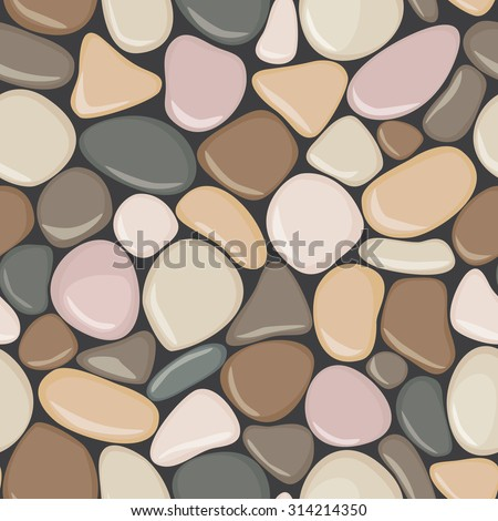 Stone seamless background texture. Pebbles seamless pattern. Colorful seaside wet pebble vector illustration. Spa stones flat design.