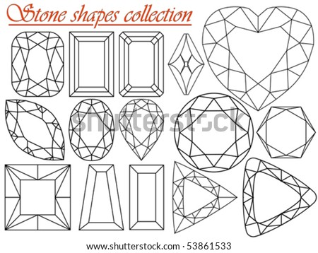 stone shapes collection against white background, abstract vector art illustration