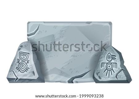 stone sign board  vector aztec