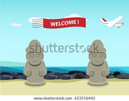 stone statue  dol hareubang  on