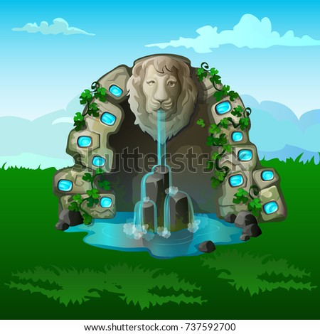 stone waterfall with decoration