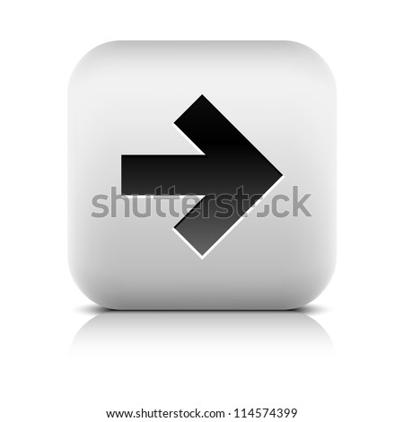 Stone web 2.0 button arrow symbol next sign. White rounded square shape with black shadow and gray reflection on white background. Vector illustration in wire mesh technique and saved in 8 eps