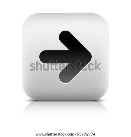 Stone web 2.0 button arrow symbol. White rounded square shape with shadow and reflection. White background