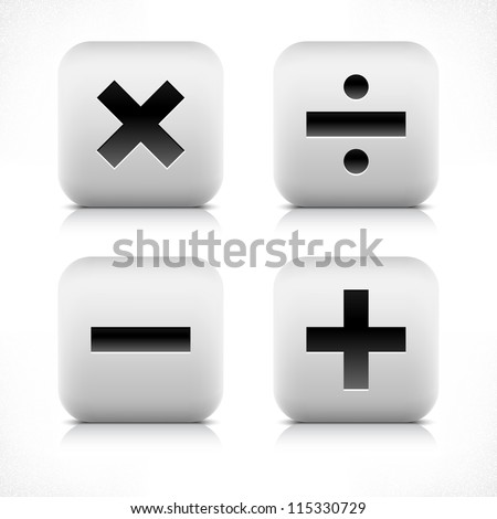Stone web button calculator icon. Division, minus, plus, multiplication sign. White rounded square shape with black shadow and gray reflection on white background. Vector illustration saved in 8 eps