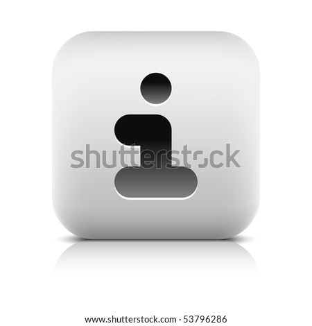 Stone web 2.0 button info sign. White rounded square shape with shadow and reflection. White background