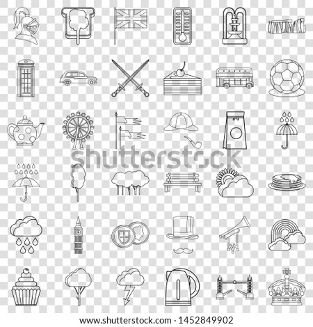 stonehenge icons set outline