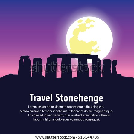 Stonehenge on  appearance of Supermoon in the center. Stock photo ©