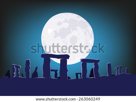 Stonehenge on midsummer solstice and appearance of Supermoon in the center. Stock photo ©