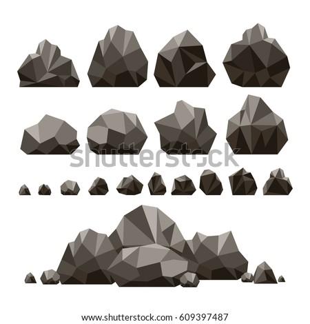 stones and rocks 3d isometric...