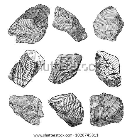 stones hand drawn sketches set