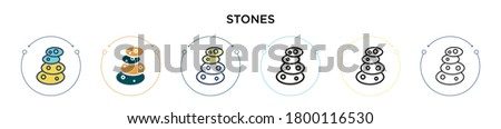 stones icon in filled  thin