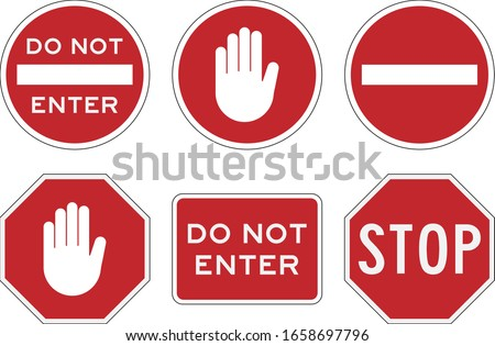 Stop And Do Not Enter Sign Icon. Warning And Attention. Restricted And Dangerous Vector Sign. Illustration Of Traffic Road And Stop Symbol. Traffic Stop And Do Not Enter.