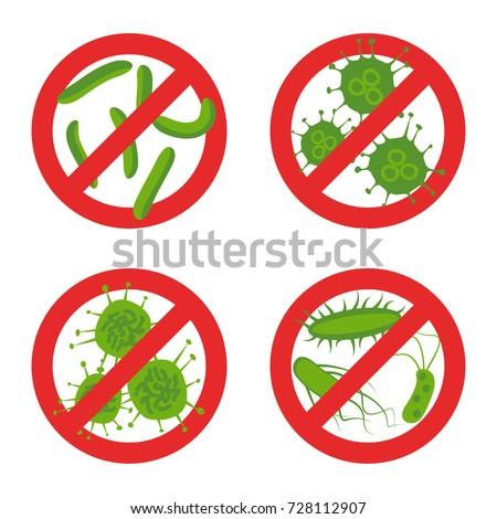 stop bacteria sign set stock
