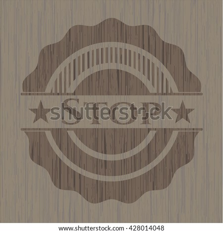 Stop badge with wood background
