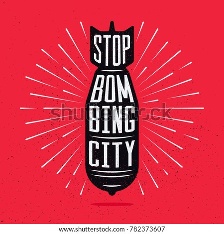stop bombing city silhouette