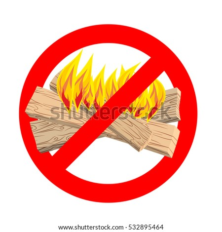 Stop bonfire. It is forbidden to make fire. Emblem against flames. Red prohibition sign. Ban light Сток-фото ©