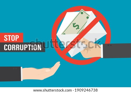 Stop bribery and corruption, concept. Hand gives envelope with banknotes, other empty hand want money. Bribe in red prohibition sign. Design isolated on blue background. Flat Vector illustration ストックフォト ©