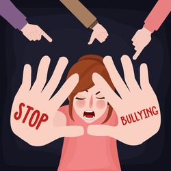 stop bullying child abuse girl sad victim scared woman with hand sign