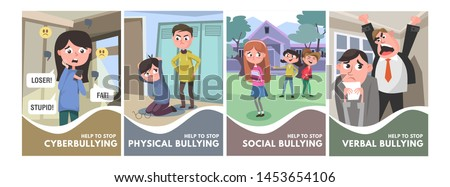 Stop bullying posters set. Bullying types concepts in cartoon style verbal, social, physical, cyberbullying. Bullying at school and in the office. Vector illustration Stock foto ©