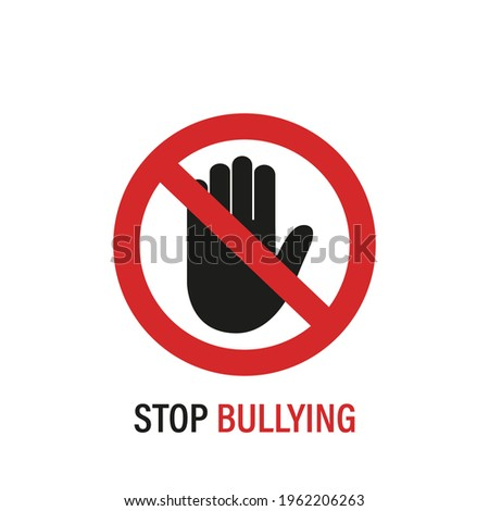 Stop Bullying Sign. Stop Bullying and Child Abuse in the School. Verbal, Social, Physical, Cyberbullying concept. Social Problems. Black Palm of Hand icon and Red Sign. Vector illustration. Foto stock ©