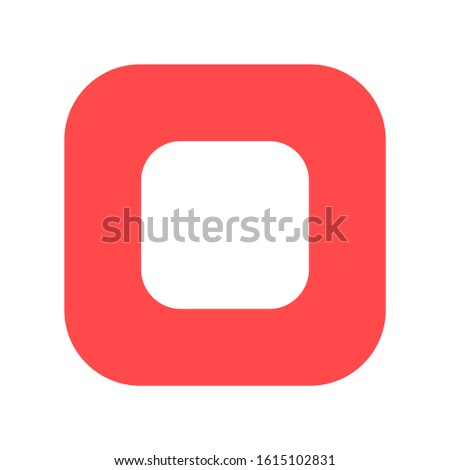 Stop button flat vector icon. Media control symbol. Video app interface. Multimedia player
