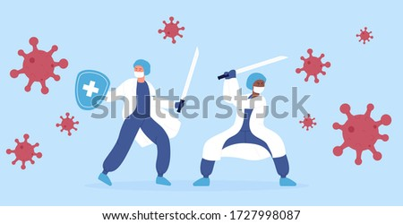 Stop corona virus 2019-nCoV vector illustration concept. Doctors medical health care professionals ninja team fighting with coronavirus monsters pandemic using katana sword.